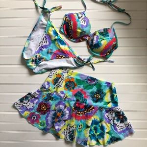 Victoria Secret 3 piece bikini set with swim skirt
